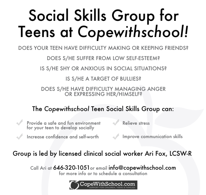 Group Therapy: Social Skills for Teens - Cope With School NYC